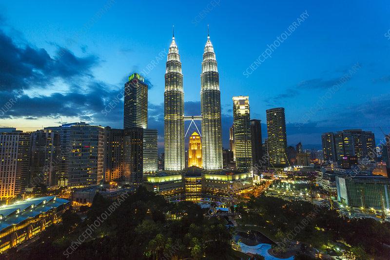Kuala Lumpur evening cityscape, Malaysia