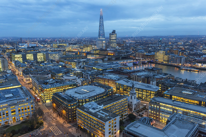 Aerial view, London, UK, evening