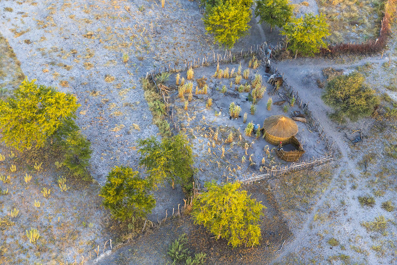 Aerial view of traditional African smallholding