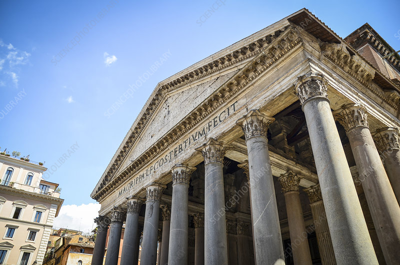 Portico of the Pantheon in Rome, Italy
