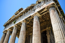 Low angle close up of classical Greek temple, Athens, Greece