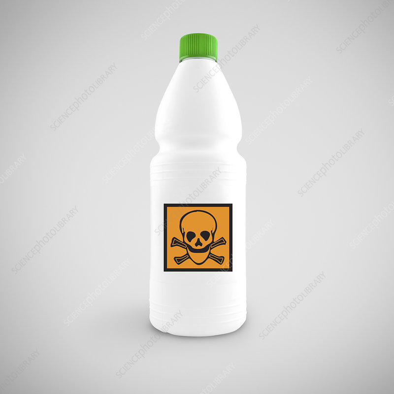 Bottle with hazard symbol