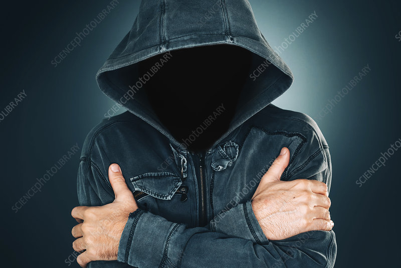 Mysterious suspicious faceless man with hoodie