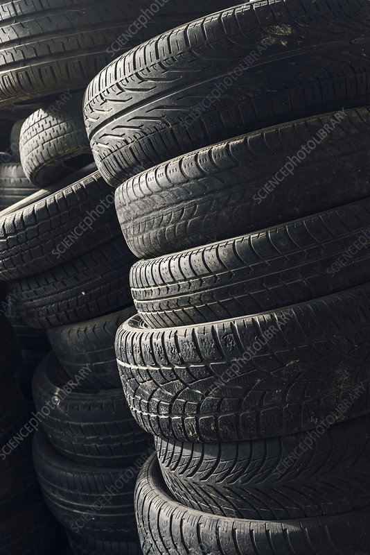 Stack of used car tyres