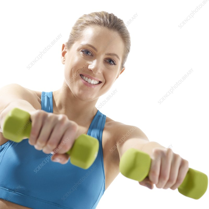 Woman using hand weights