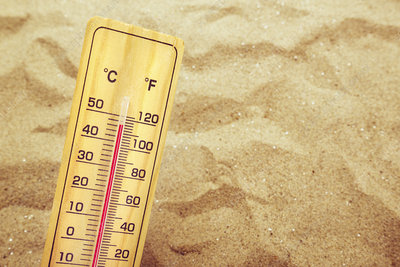 Thermometer on hot desert sand