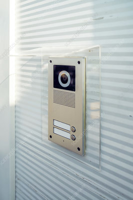 Video intercom device on building exterior