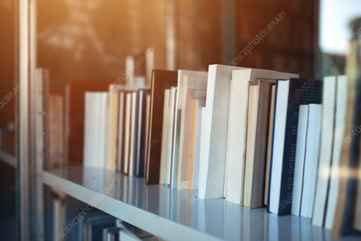 Books on library shelf