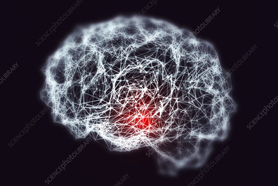 Brain with blurred neuronal network, illustration