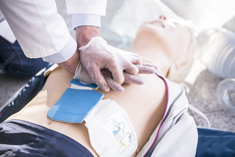 Doctor undertaking CPR training
