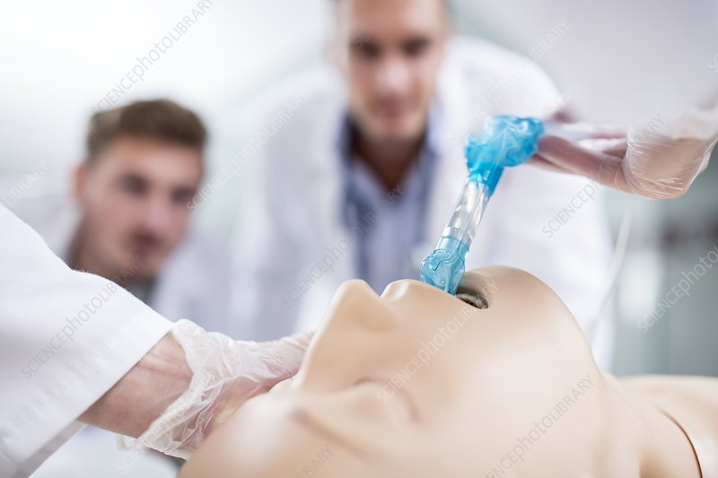 Doctor practising intubation on a dummy