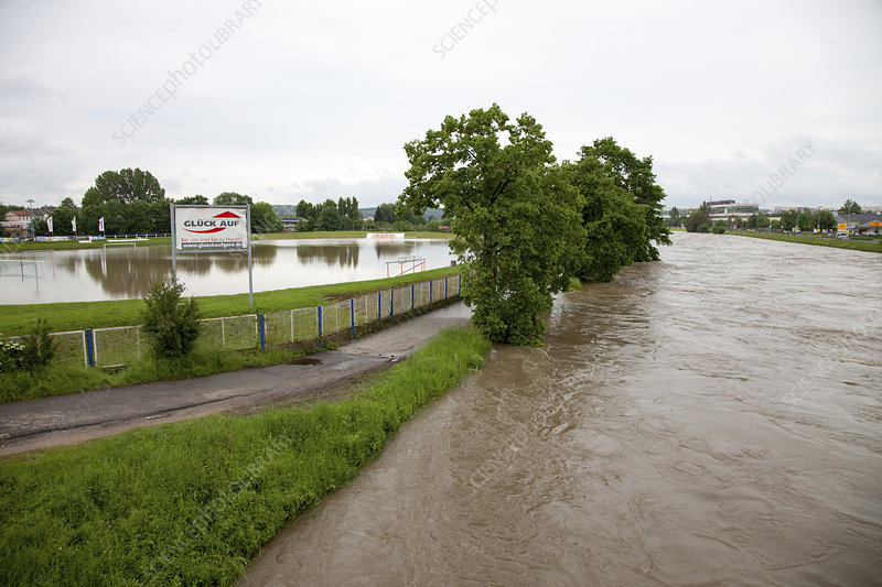 Flooded sports pitch, Gera, Germany, 2016