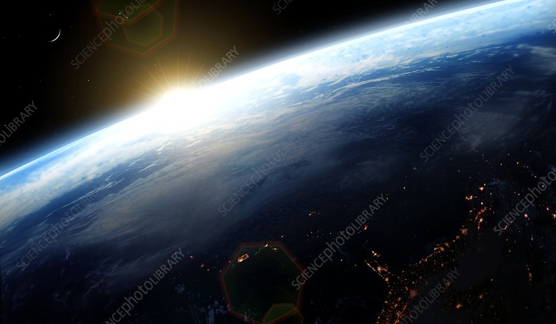 Sunrise over Earth, illustration