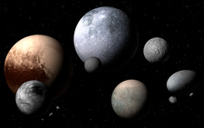 Dwarf planets and moons, illustration