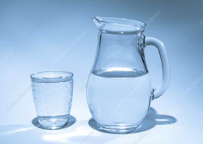 Jug and glass with drinking water