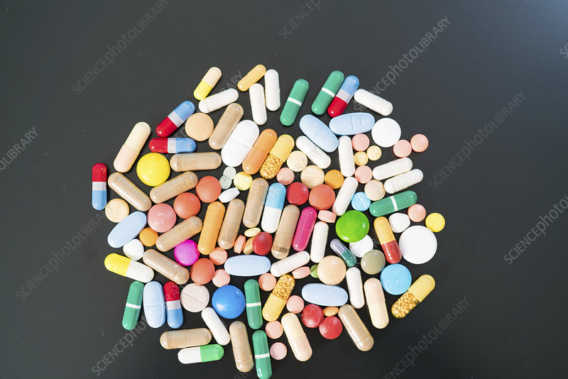 Multicolored pills and capsules