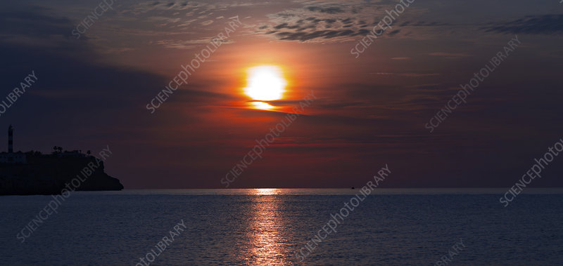 Sun setting over the sea
