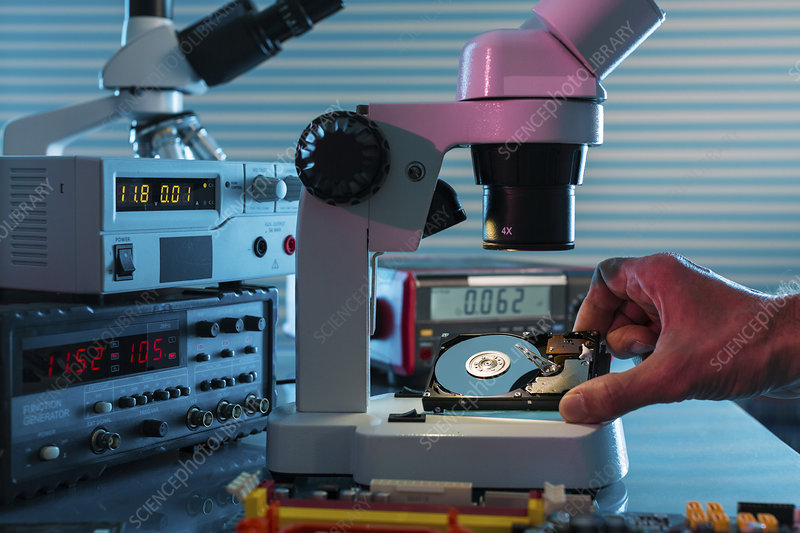 Examining hard drive with microscope