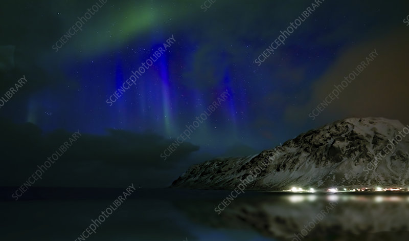 Northern lights, Skagsanden beach, Lofoten Islands, Norway