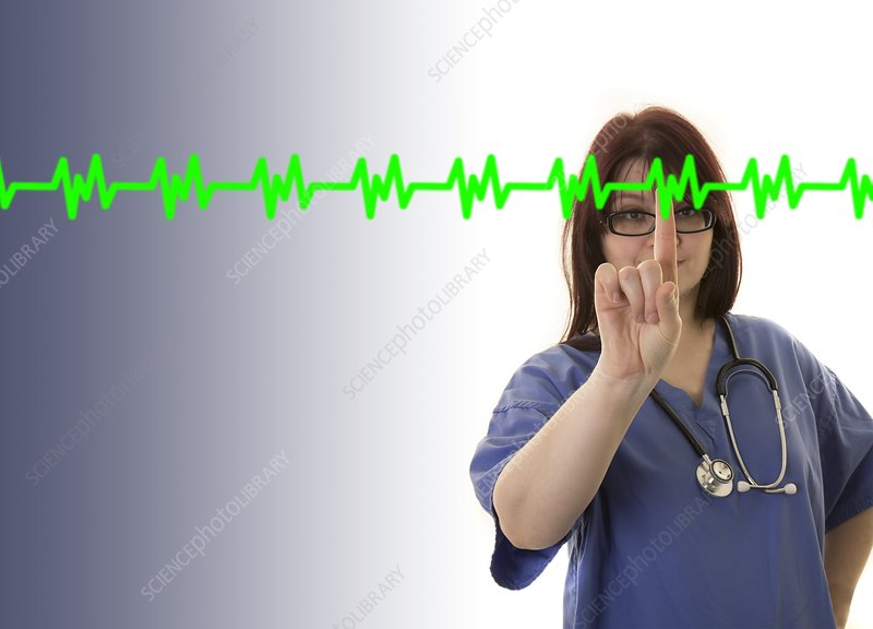 Doctor touching virtual ECG