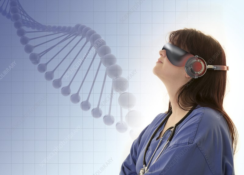 Doctor wearing VR headset and examining DNA