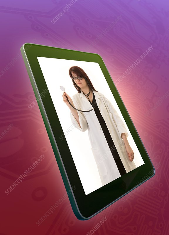 Doctor with stethoscope on digital tablet screen