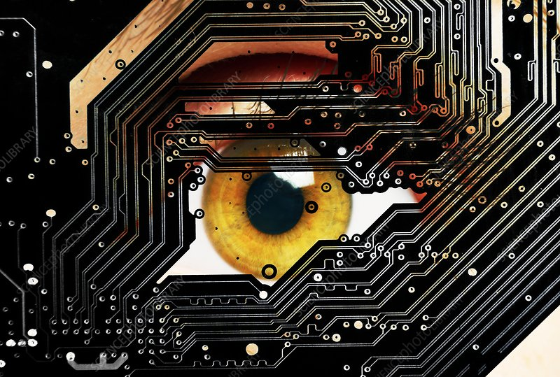 Human eye looking through circuit board