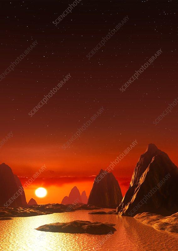 Ross 128 B >> Rocky Exoplanet Ross 128 B Illustration Stock Image F021 4526