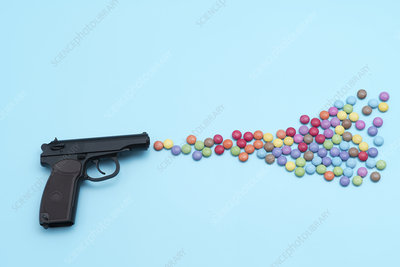 Pistol shooting sweets