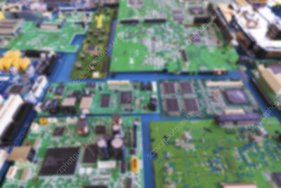 PC circuit boards, blurred image