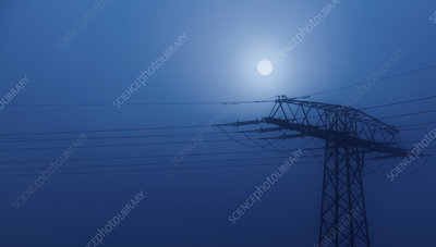 Pylon at night with moon