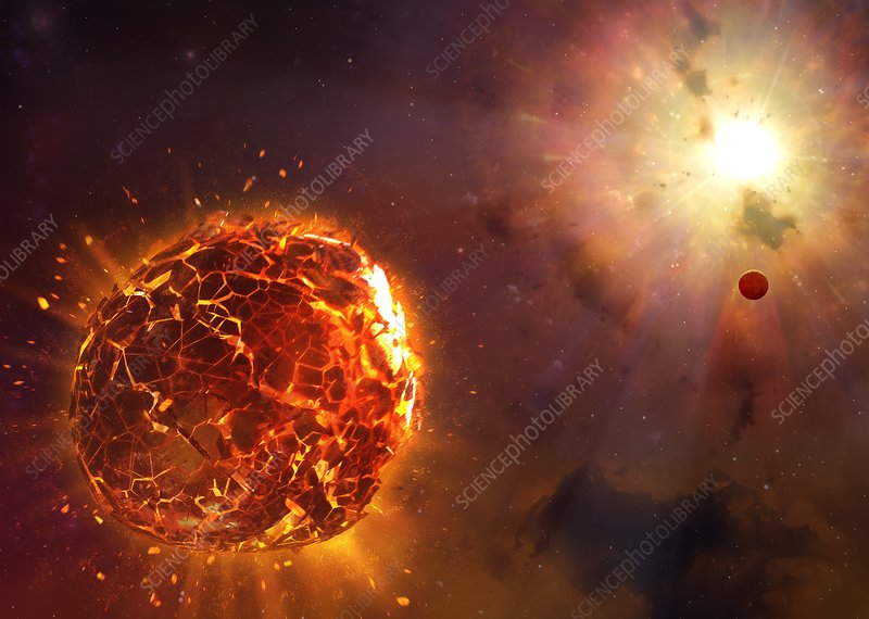 Supernova destroying planet, illustration