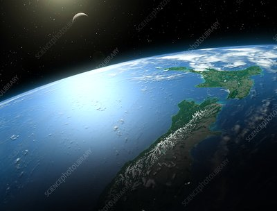 Illustration of New Zealand from space