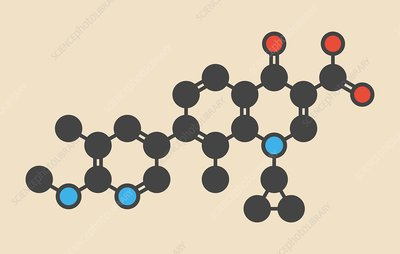 Ozenoxacin antibiotic drug molecule