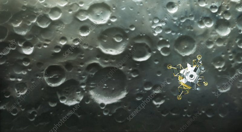 Lunar module over the Moon, illustration
