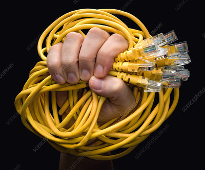 Person holding cables