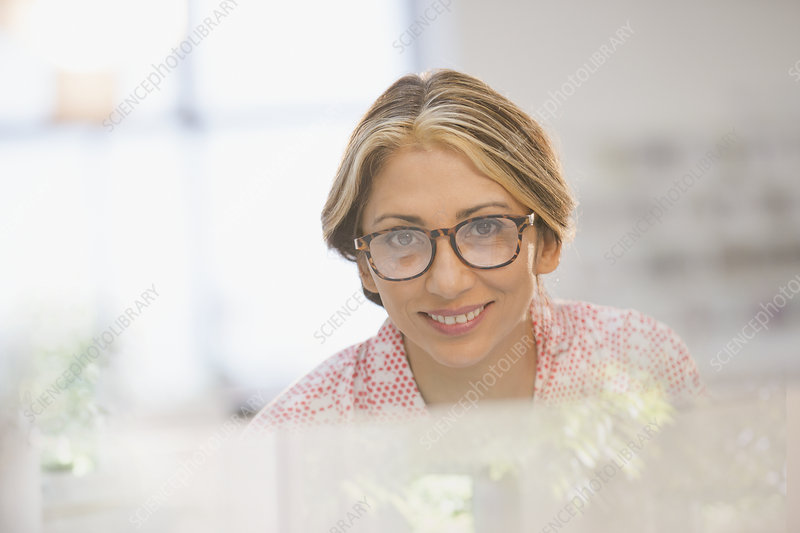 Portrait businesswoman with eyeglasses
