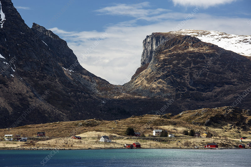 Mountains over remote seaside houses, Norway