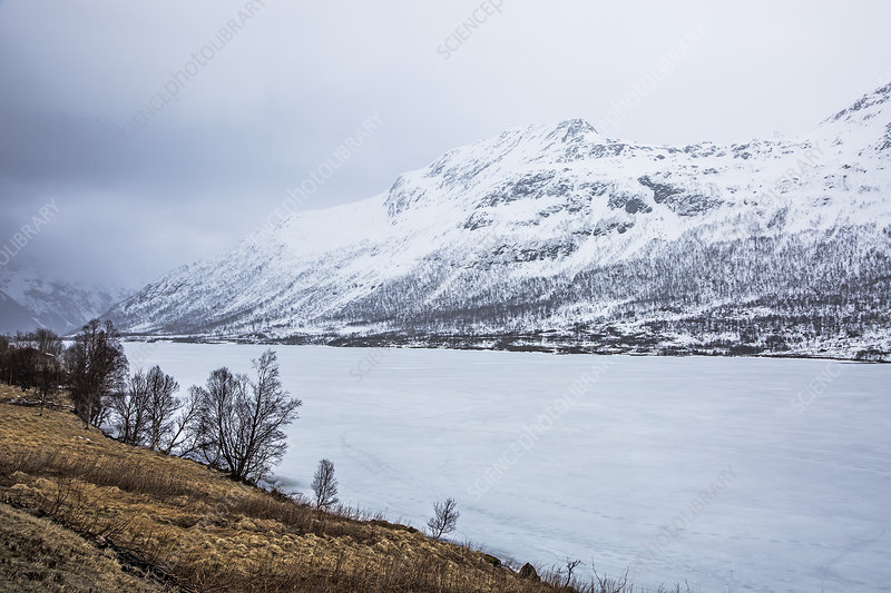 Snow covered mountains and fjord, Norway