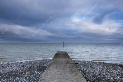 Jetty with stormy ocean view, Silloth, Cumbria, UK