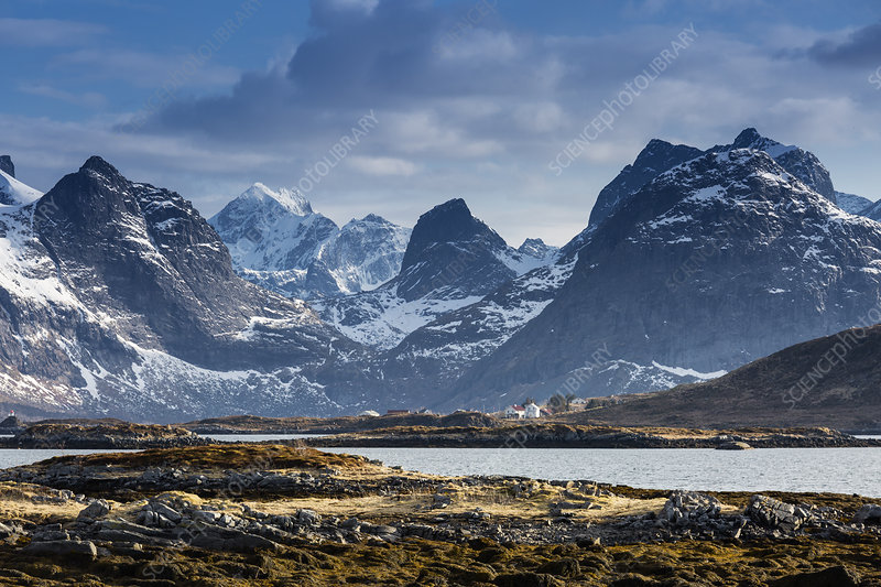 Snow on sunny, craggy mountains, Norway