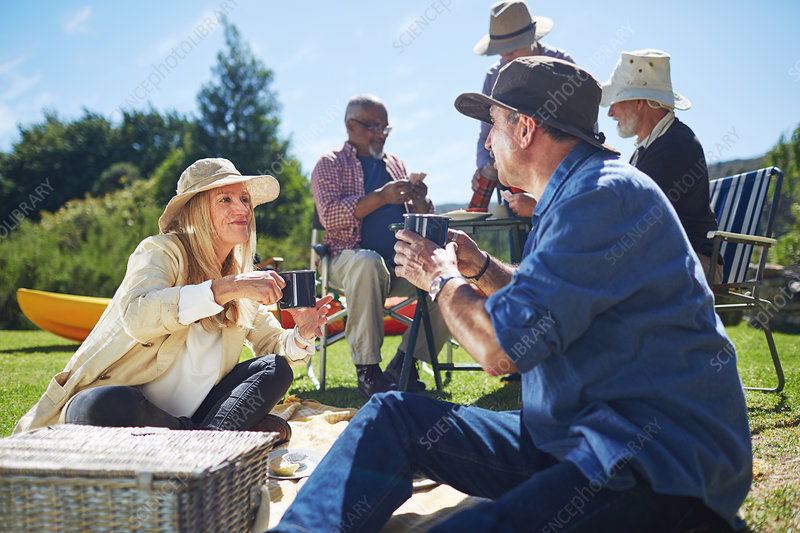 Active senior friends enjoying sunny summer picnic