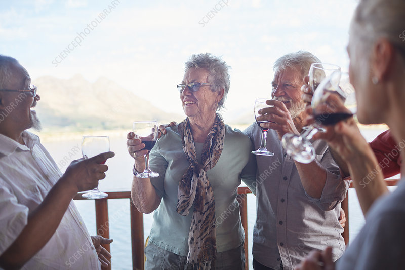Happy active senior friends drinking wine