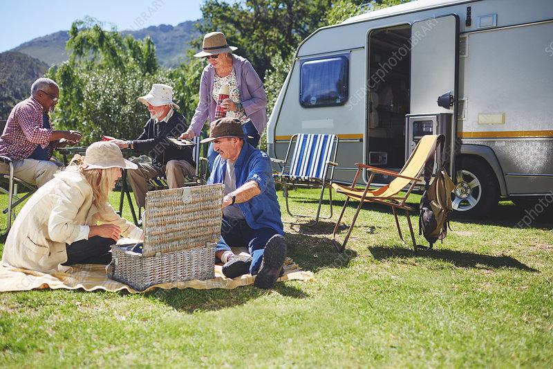 Active senior friends enjoying picnic