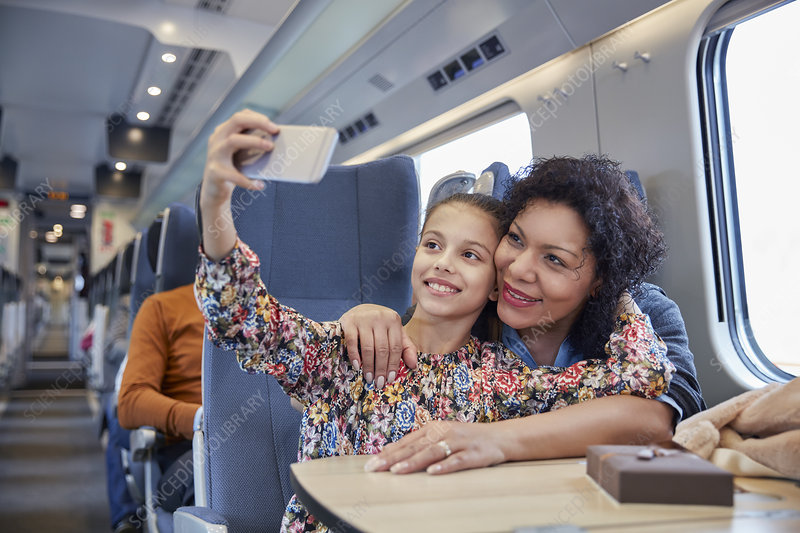 Mother and daughter taking selfie on train