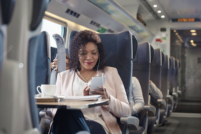 Businesswoman working on train