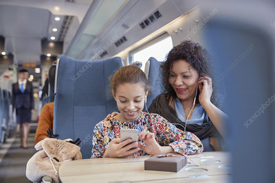 Mother and daughter sharing headphones on train