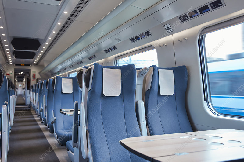 Seats and table on empty train
