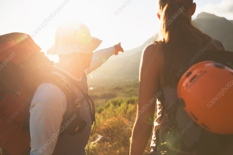 Rock climbers pointing to sunny mountain