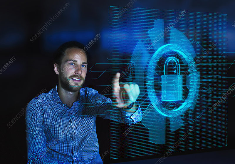 Businessman accessing security feature